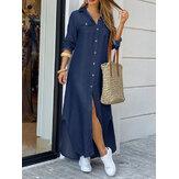 Casual Loose Button Front Nieregularna dżinsowa sukienka maxi z rozcięciem i kieszeniami z przodu
