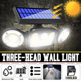 Three-head Induction 83 COB LED Solar Wall Street Light Pathway Garden Lamp for Outdoor Use