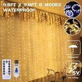 3 * 3m 300LED USB Wasserdichter LED-Fenstervorhang Lichterketten Fernbedienung 8 Modi Lichterketten Home Christmas