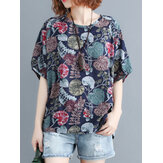 Women Plant Leaf Print Round Neck Casual Relaxed Half Sleeve Blouses