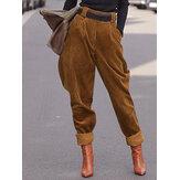 Kvinder Corduroy ensfarvet afslappet høj elastisk talje bukser med lomme