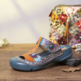 SOCOFY Leather Floral Cutout Adjustable Beaded Strap Slip-on Mules Flat Slides Sandals