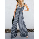 V-neck Sleeveless Striped Pockets Wide Legged Jumpsuit