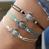 bohémien Turtle Bracelet de chevilles Réglable Cire Corde Noir Bleu Blanc