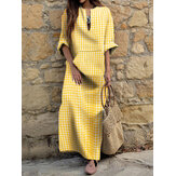 Women Gingham Notched Neck Side Split Bohemian Casual Maxi Dresses With Pocket