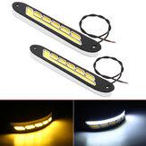 2Pcs 12V COB LED Auto DRL Tagfahrlichter Streifen Gelb & Weiß Zweifarbiger Blinker Nebel Taglicht