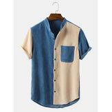 Camisas masculinas vintage de veludo gola casual