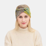 Pałąk na głowę z barwionymi na krzyż kobietami elastyczną opaską do włosów na świeżym powietrzu z szerokim rondem