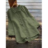 レディースコットン無地ハイロー裾3/4袖ボタンカジュアルブラウス
