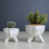 Kreativer humanoider keramischer Blumentopf grüner saftiger Pflanzer-Pflanzenbehälter