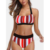 Plus Size Women Stripes High Waist Bikini Backless Swimwear