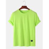 メンズプレーンソリッドカラーリトルタグ通気性の短いSeeve Tシャツ