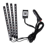 4 STKS 12 LED Strip Licht RGB Voice / APP Controle Fairy Lights Lamp Party Waterdicht