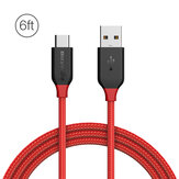 BlitzWolf® AmpCore BW-TC6 QC3.0 3A USB Type-C Braided Charging Data Cable 6ft/1.8m With Nylon Patch  Tape Strap