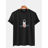 Mens Astronaut Cartoon Print Crew Neck Short Sleeve T-Shirts