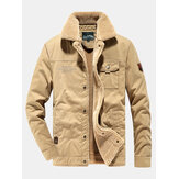 Mens Warm Fleece Lined Pocket Cargo Jacket With Pocket