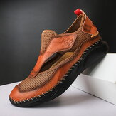 Men Genuine Leather Mesh Lightweight Hollow Out Stitching Casual Shoes