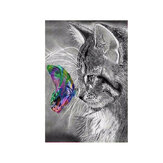 5D Cat Art DIY Diamond Painting Cat Butterfly Embroidery Meow Kit Craft Home Decor Gift