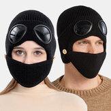 Unisex Plus Velvet Thick Warm Neck Face Ear Protection Headgear Knitted Hat Mask Pilot Glasses