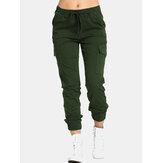 Wanita kasual elastis pinggang serut kantong samping celana