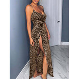 Leopard Print Sleeveless Straps High Split Long Maxi Dress For Women