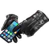 Touch Screen Gloves Full Finger Winter Warm Thicken Cotton Windproof PU Leather Waterproof Black