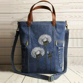 Mulheres Flower Print Canvas Handbag Shoulder Bolsa Handbag
