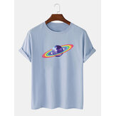 100% Algodão Mens Cartoon Rainbow Planet Print Breathablel Camisetas
