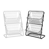 Double Layers Wire Market Basket Stand Storage Shelf Organizer for Fruit Vegetables Toiletries Household Bedroom