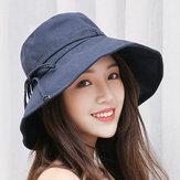 المرأة الصيف عارضة القطن دلو قبعة طوي واسعة بريم الشمس الشاطئ كاب