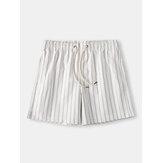 Shorts acogedores para hombre Loungewear a rayas con cordón Mini pantalones cortos sueltos de secado rápido