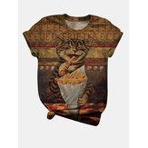 Women Funny Cat Print Vintage O-Neck Short Sleeve Casual T-Shirt