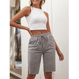 Women Sport Yoga Grey Drawstring Shorts Wth Pocket