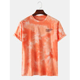 Men Fashion Cotton Gradient Color Creative Printing Crew Neck Short Sleeve T-Shirts