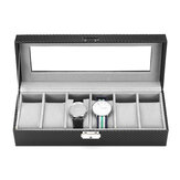 6 Grids Carbon Fibre Pattern with Skylight Watch Box Jewellery Display Collection Storage Box