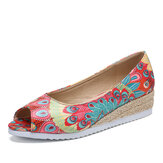 LOSTISY Women Espadrille Comfy Wedge Peep Toe Slip On Platforms