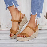 Women Straw Braided Open Toe Buckle Wedges Sandals
