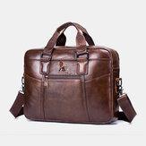 Genuine Leather Vintage Handbag Shoulder Bag Messenger Bag For Men