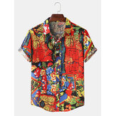 Mens Vintage Oil Painting Print Button UP Turn Down Short Sleeve Hawaii Holiday Shirts
