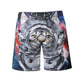S5266 Praia Shorts Board Shorts 3D Astronauta Espaço Gato Impressão Secagem Rápida À Prova D 'Água Elasticidade