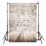 5x7FT Retro White Grey Brick Wall Wood Photography Background Valentine Backdrop Decorations