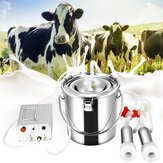 7L Electric Vacuum Pulsation Suction Pump Milker Machine Portable Automatic Electric Cows Milking Machine With Brush For Farms