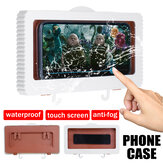 Touch Screen Waterproof Mobile Phone Case Bathroom Wall Mounted Holder Storager Sealed Organizer for Smartphone up to 6.8 inch