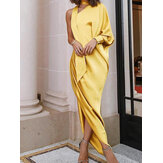 Women One Shoulder Scrunch Slit Side Maxi Evening Dress