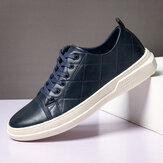Menico Hommes Pure Color Microfiber Leather Antidérapant Soft Semelle Casual Sneakers