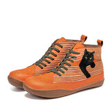 Women Black Cat Print Casual Lace Up Splicing Suede Flat Ankle Boots