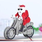 Weihnachten 3D Motorrad Weihnachtsmann Pop Up Grußkarte Weihnachtsgeschenke Party Grußkarte