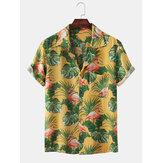 Hombres Flamingo Printed Chest Pocket Botton UP Turn Down Collar Hawaii Playa Camisas de manga corta
