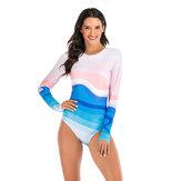 Kadınlar Degrade Baskı Fermuar Uzun Kollu Spor Sörf Takım Elbise Mayo