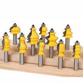 Conjunto de bits de roteador de moldagem arquitetônica Drillpro 10pcs 8mm Base do revestimento Linha CNC Corrimão Cortadores para carpintaria Fresa